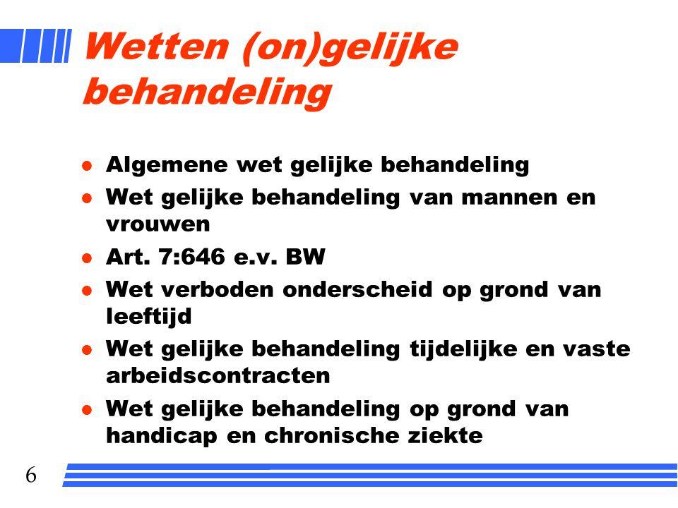 7 Directe en indirecte discrimatie (bv WGB) Wet van 1 maart 1980, houdende aanpassing van de Nederlandse wetgeving aan de richtlijn van de Raad van de Europese Gemeenschappen van 9 februari 1976 inzake de gelijke behandeling van mannen en vrouwen Wij Juliana, bij de gratie Gods, Koningin der Nederlanden, Prinses van Oranje-Nassau, enz., enz., enz.