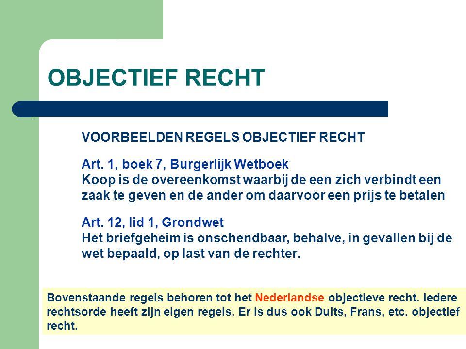 OBJECTIEF RECHT VOORBEELDEN REGELS OBJECTIEF RECHT Art. 1, boek 7, Burgerlijk Wetboek Koop is de overeenkomst waarbij de een zich verbindt een zaak te