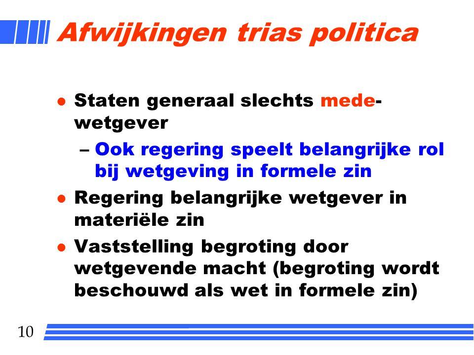 9 Trias politica l Uitvoerende macht l Wetgevende macht l Rechtsprekende macht Trias politica is belangrijke bouwsteen Nederlands constitutioneel rech