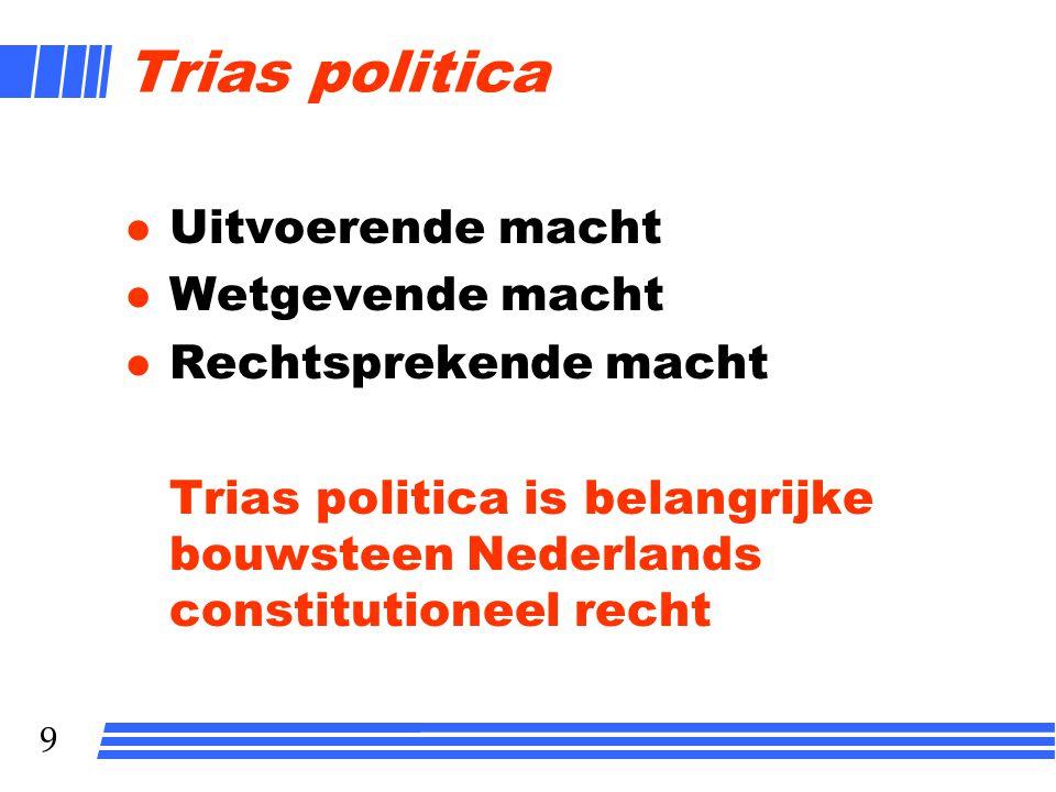 8 8 Beginselen rechtsstaat l MACHTENSCHEIDING l LEGALITEIT l DEMOCRATIE l ONAFHANKELIJKE RECHTER l GRONDRECHTEN