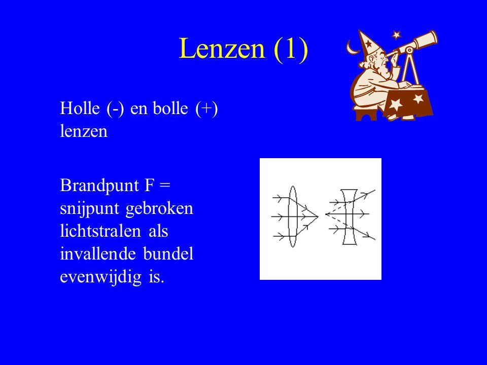 Lenzen (1) Holle (-) en bolle (+) lenzen Brandpunt F = snijpunt gebroken lichtstralen als invallende bundel evenwijdig is.