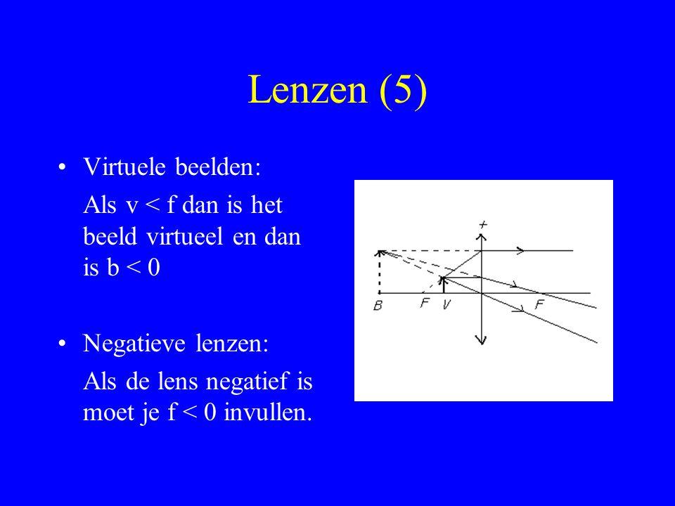 Lenzen (5) Virtuele beelden: Als v < f dan is het beeld virtueel en dan is b < 0 Negatieve lenzen: Als de lens negatief is moet je f < 0 invullen.