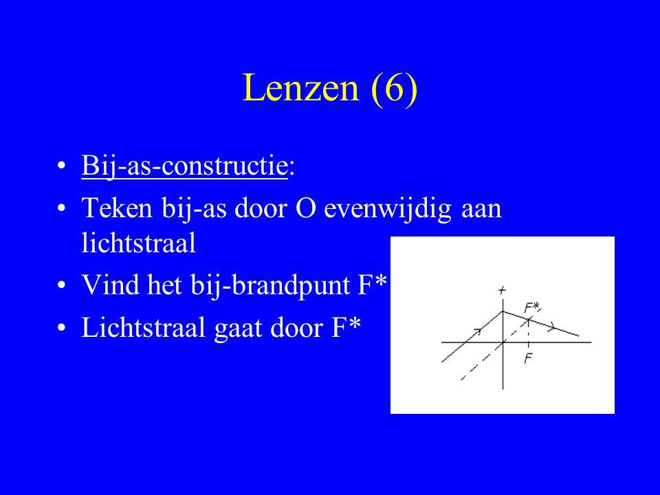 Lenzen (6) Bij-as-constructie: Teken bij-as door O evenwijdig aan lichtstraal Vind het bij-brandpunt F* Lichtstraal gaat door F*