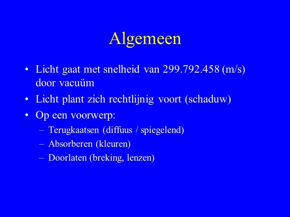 Lenzen (4) Lenzenformule: Vergroting: Lenssterkte: S in (dpt) als f in (m)