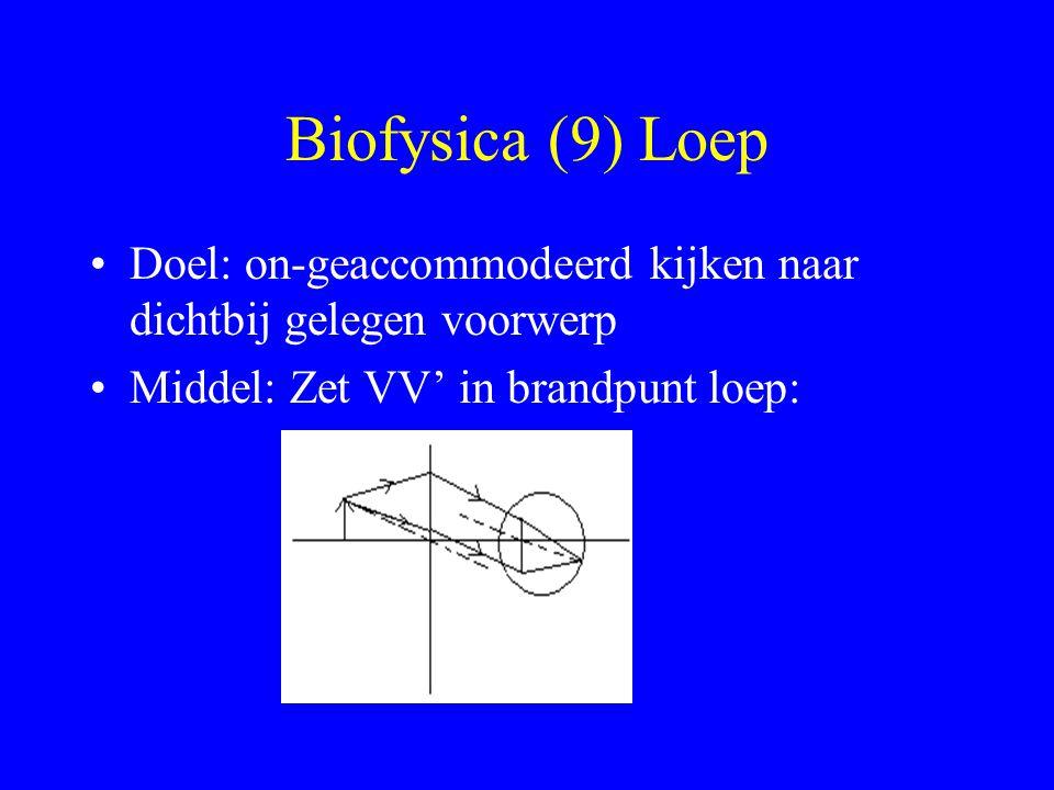 Biofysica (9) Loep Doel: on-geaccommodeerd kijken naar dichtbij gelegen voorwerp Middel: Zet VV' in brandpunt loep: