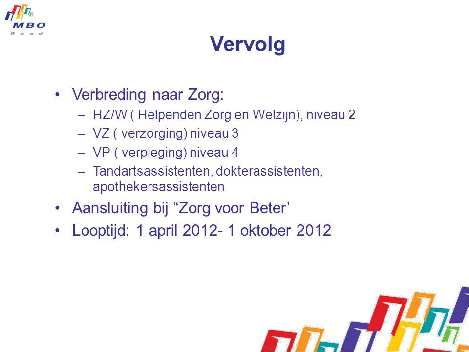 Vervolg Verbreding naar Zorg: –HZ/W ( Helpenden Zorg en Welzijn), niveau 2 –VZ ( verzorging) niveau 3 –VP ( verpleging) niveau 4 –Tandartsassistenten,