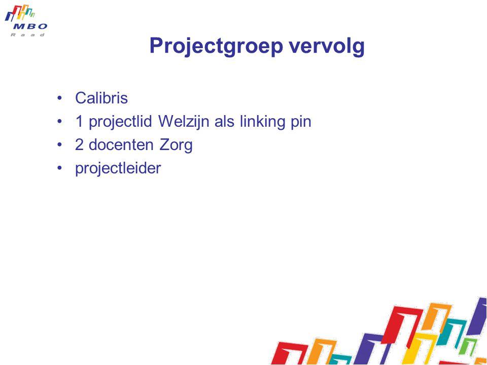 Projectgroep vervolg Calibris 1 projectlid Welzijn als linking pin 2 docenten Zorg projectleider