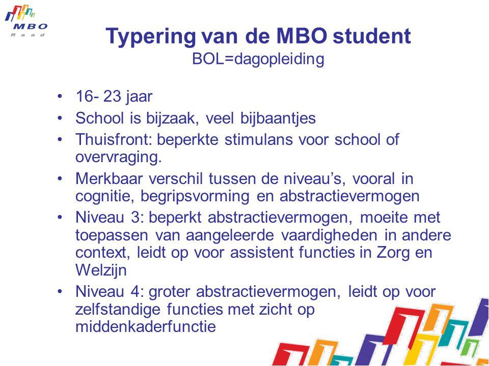 Typering van de MBO student BOL=dagopleiding 16- 23 jaar School is bijzaak, veel bijbaantjes Thuisfront: beperkte stimulans voor school of overvraging.