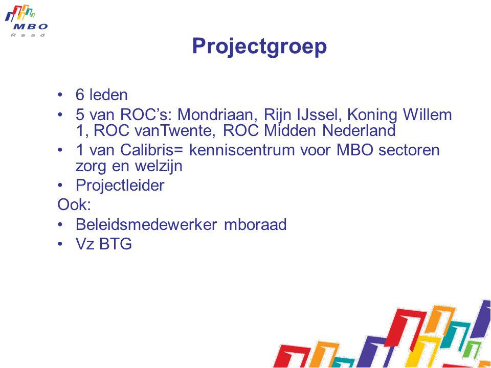Projectgroep 6 leden 5 van ROC's: Mondriaan, Rijn IJssel, Koning Willem 1, ROC vanTwente, ROC Midden Nederland 1 van Calibris= kenniscentrum voor MBO sectoren zorg en welzijn Projectleider Ook: Beleidsmedewerker mboraad Vz BTG