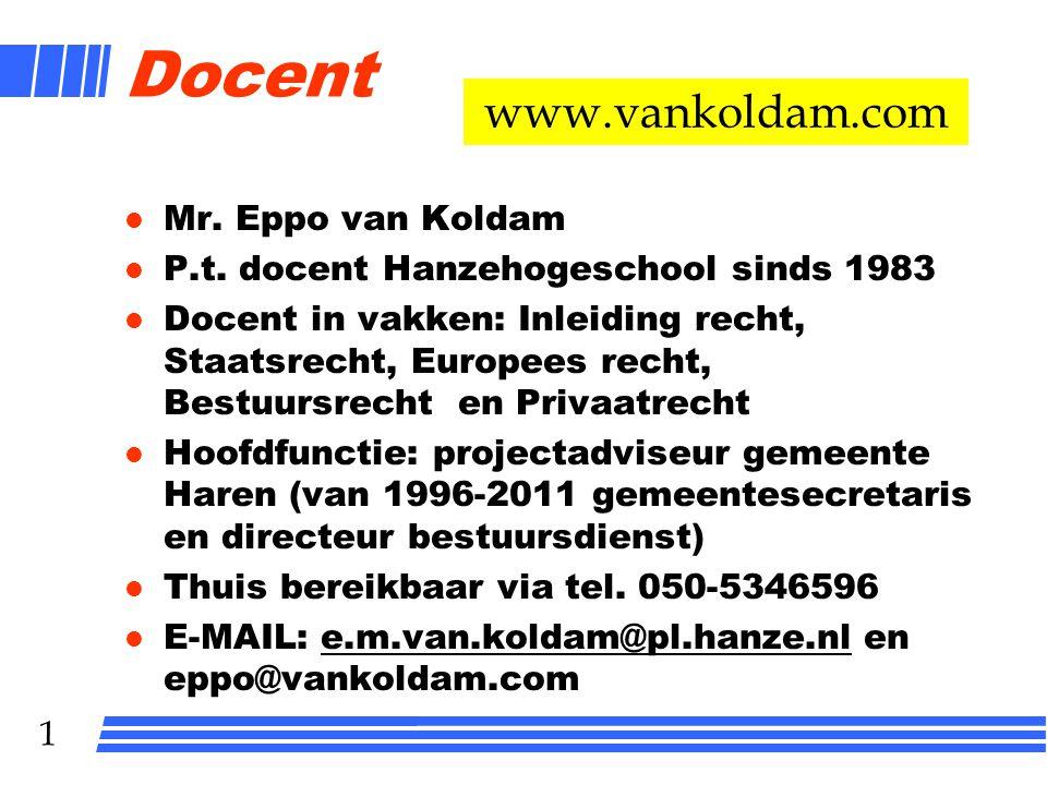 1 Docent l Mr.Eppo van Koldam l P.t.