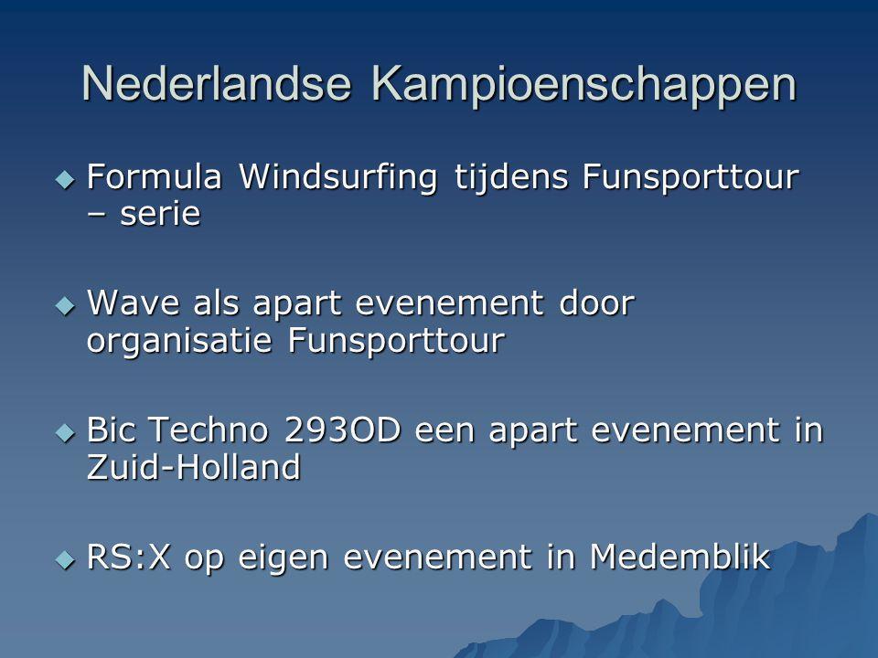 Nederlandse Kampioenschappen  Formula Windsurfing tijdens Funsporttour – serie  Wave als apart evenement door organisatie Funsporttour  Bic Techno