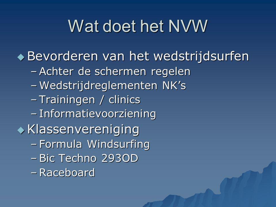 Wat doet het NVW  Bevorderen van het wedstrijdsurfen –Achter de schermen regelen –Wedstrijdreglementen NK's –Trainingen / clinics –Informatievoorzien