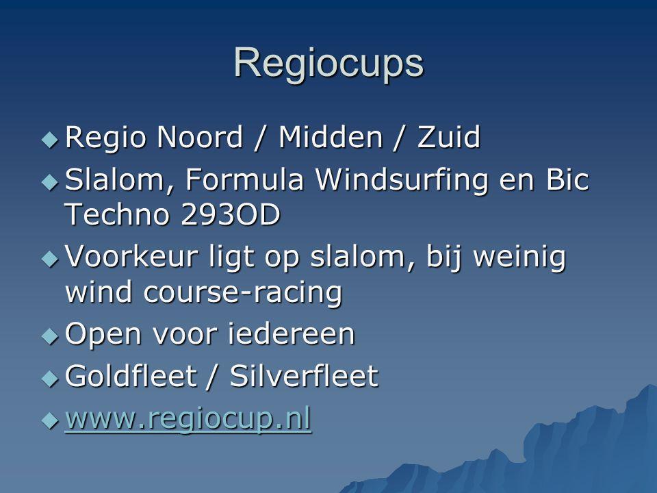 Regiocups  Regio Noord / Midden / Zuid  Slalom, Formula Windsurfing en Bic Techno 293OD  Voorkeur ligt op slalom, bij weinig wind course-racing  O