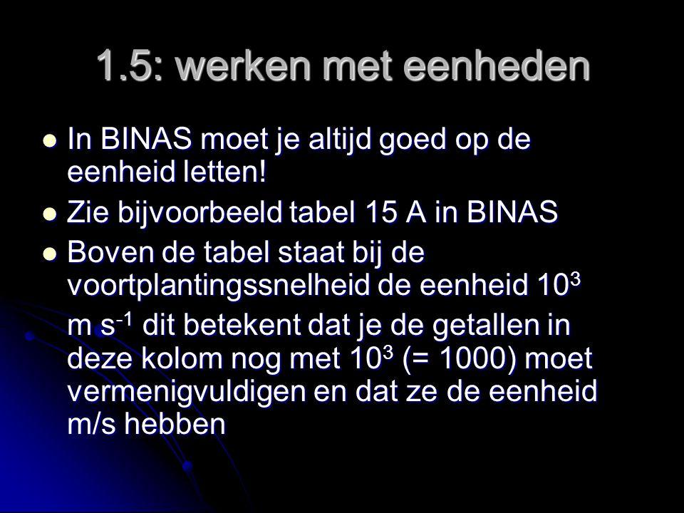 1.5: werken met eenheden In BINAS moet je altijd goed op de eenheid letten.