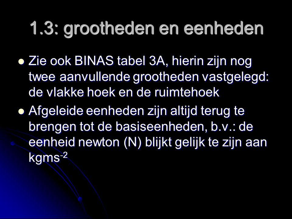 1.5 werken met eenheden Het omrekenen van eenheden, b.v.