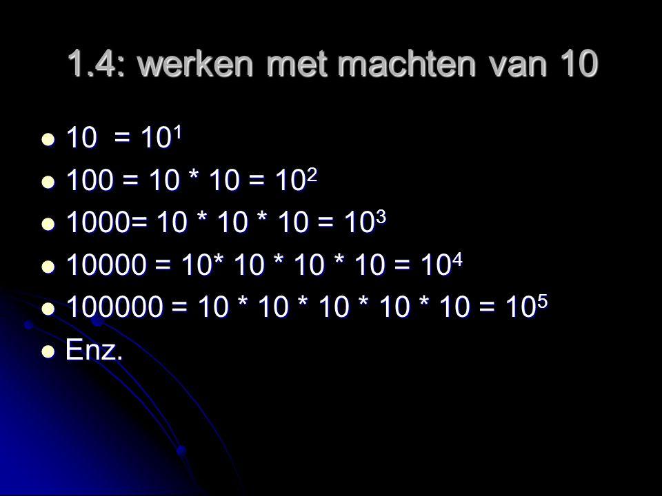 1.4: werken met machten van 10 10 = 10 1 10 = 10 1 100 = 10 * 10 = 10 2 100 = 10 * 10 = 10 2 1000= 10 * 10 * 10 = 10 3 1000= 10 * 10 * 10 = 10 3 10000 = 10* 10 * 10 * 10 = 10 4 10000 = 10* 10 * 10 * 10 = 10 4 100000 = 10 * 10 * 10 * 10 * 10 = 10 5 100000 = 10 * 10 * 10 * 10 * 10 = 10 5 Enz.