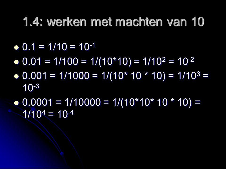 1.4: werken met machten van 10 0.1 = 1/10 = 10 -1 0.1 = 1/10 = 10 -1 0.01 = 1/100 = 1/(10*10) = 1/10 2 = 10 -2 0.01 = 1/100 = 1/(10*10) = 1/10 2 = 10 -2 0.001 = 1/1000 = 1/(10* 10 * 10) = 1/10 3 = 10 -3 0.001 = 1/1000 = 1/(10* 10 * 10) = 1/10 3 = 10 -3 0.0001 = 1/10000 = 1/(10*10* 10 * 10) = 1/10 4 = 10 -4 0.0001 = 1/10000 = 1/(10*10* 10 * 10) = 1/10 4 = 10 -4