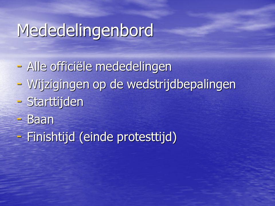 Mededelingenbord - Alle officiële mededelingen - Wijzigingen op de wedstrijdbepalingen - Starttijden - Baan - Finishtijd (einde protesttijd)