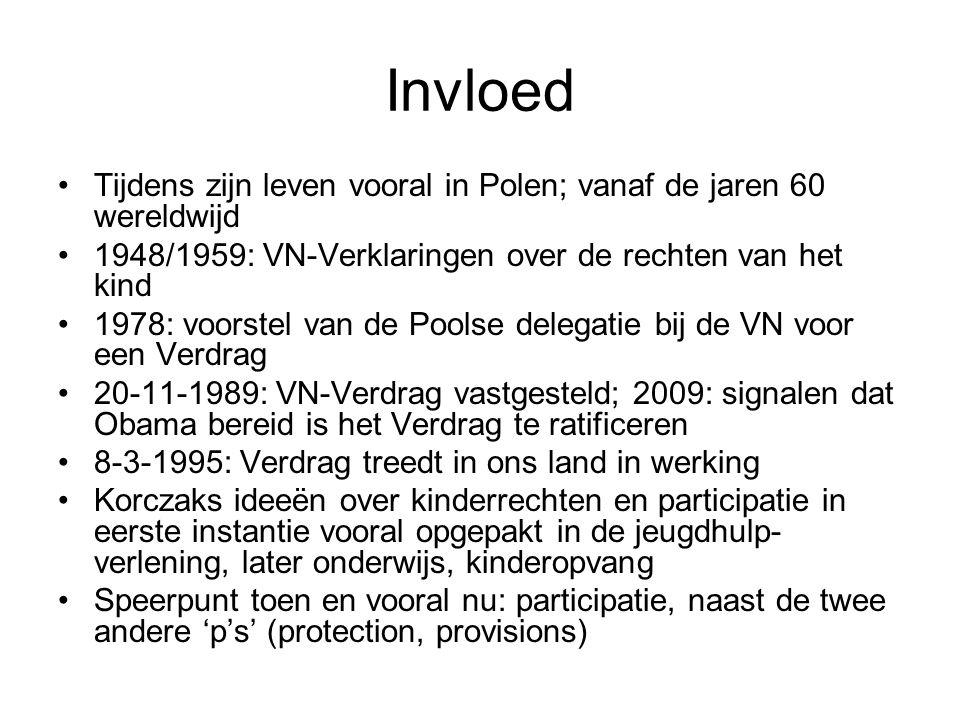 Invloed Tijdens zijn leven vooral in Polen; vanaf de jaren 60 wereldwijd 1948/1959: VN-Verklaringen over de rechten van het kind 1978: voorstel van de