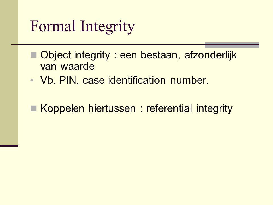 Formal Integrity Object integrity : een bestaan, afzonderlijk van waarde Vb.