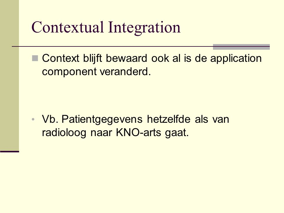 Contextual Integration Context blijft bewaard ook al is de application component veranderd.