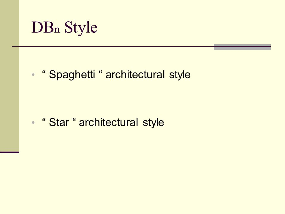 DB n Style Spaghetti architectural style Star architectural style
