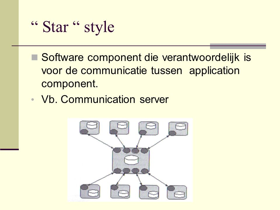 """ Star "" style Software component die verantwoordelijk is voor de communicatie tussen application component. Vb. Communication server"