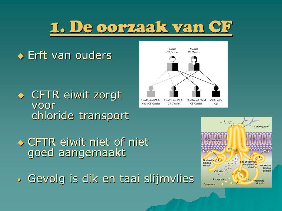 1. De oorzaak van CF  Erft van ouders  CFTR eiwit zorgt voor chloride transport  CFTR eiwit niet of niet goed aangemaakt Gevolg is dik en taai slij