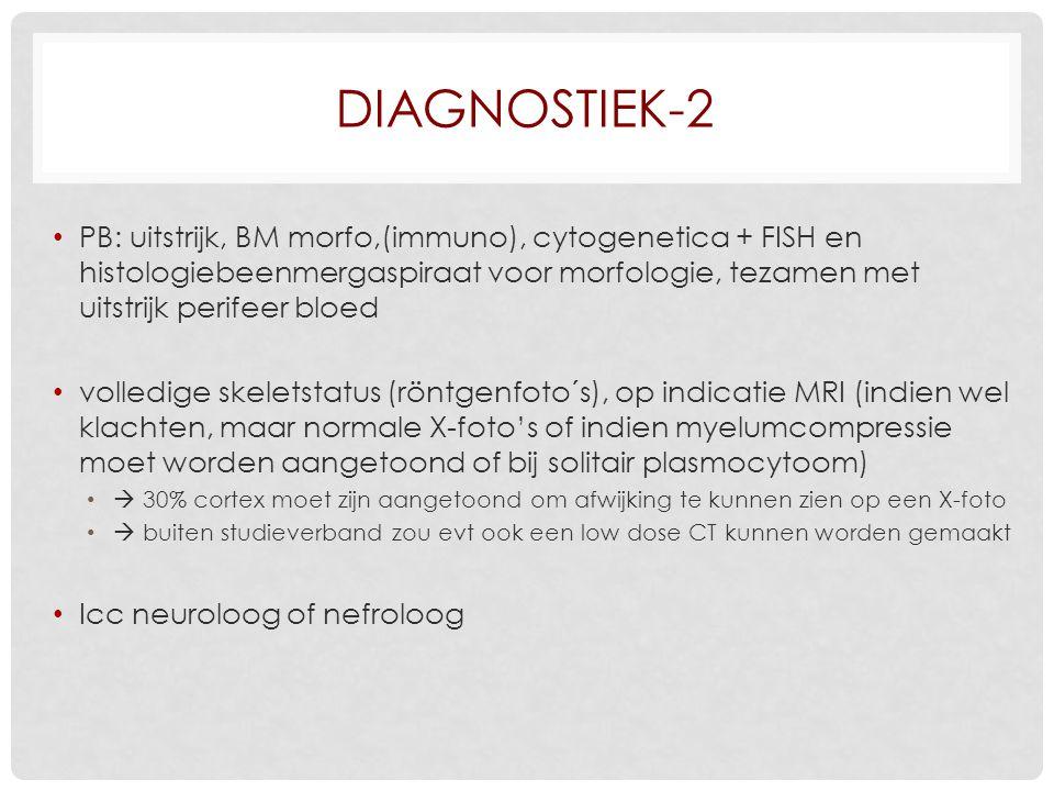 DIAGNOSTIEK-2 PB: uitstrijk, BM morfo,(immuno), cytogenetica + FISH en histologiebeenmergaspiraat voor morfologie, tezamen met uitstrijk perifeer bloe