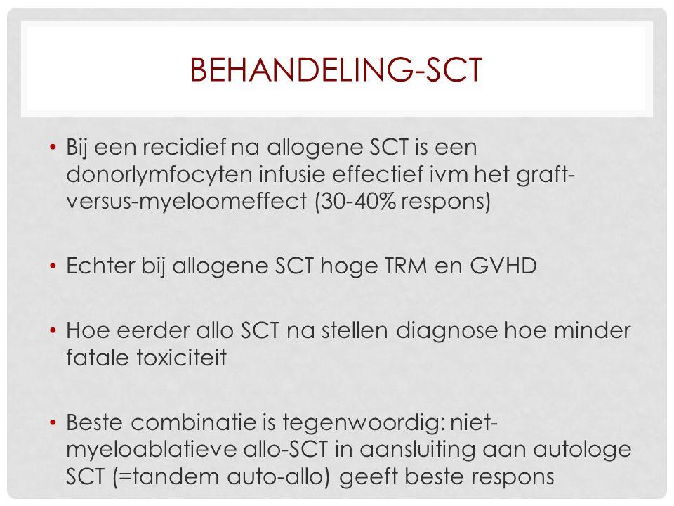 BEHANDELING-SCT Bij een recidief na allogene SCT is een donorlymfocyten infusie effectief ivm het graft- versus-myeloomeffect (30-40% respons) Echter bij allogene SCT hoge TRM en GVHD Hoe eerder allo SCT na stellen diagnose hoe minder fatale toxiciteit Beste combinatie is tegenwoordig: niet- myeloablatieve allo-SCT in aansluiting aan autologe SCT (=tandem auto-allo) geeft beste respons