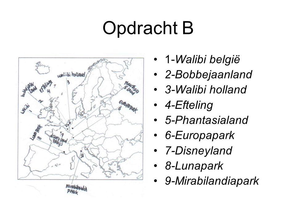 Opdracht B 1-Walibi belgië 2-Bobbejaanland 3-Walibi holland 4-Efteling 5-Phantasialand 6-Europapark 7-Disneyland 8-Lunapark 9-Mirabilandiapark