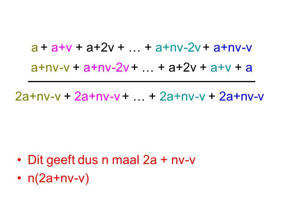 Dit geeft dus n maal 2a + nv-v n(2a+nv-v) a + a+v + a+2v + … + a+nv-2v + a+nv-v a+nv-v + a+nv-2v + … + a+2v + a+v + a 2a+nv-v + 2a+nv-v + … + 2a+nv-v + 2a+nv-v