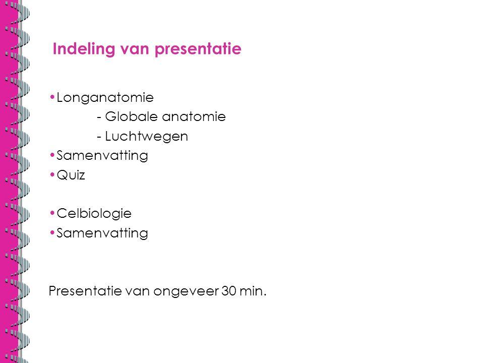 Indeling van presentatie Longanatomie - Globale anatomie - Luchtwegen Samenvatting Quiz Celbiologie Samenvatting Presentatie van ongeveer 30 min.