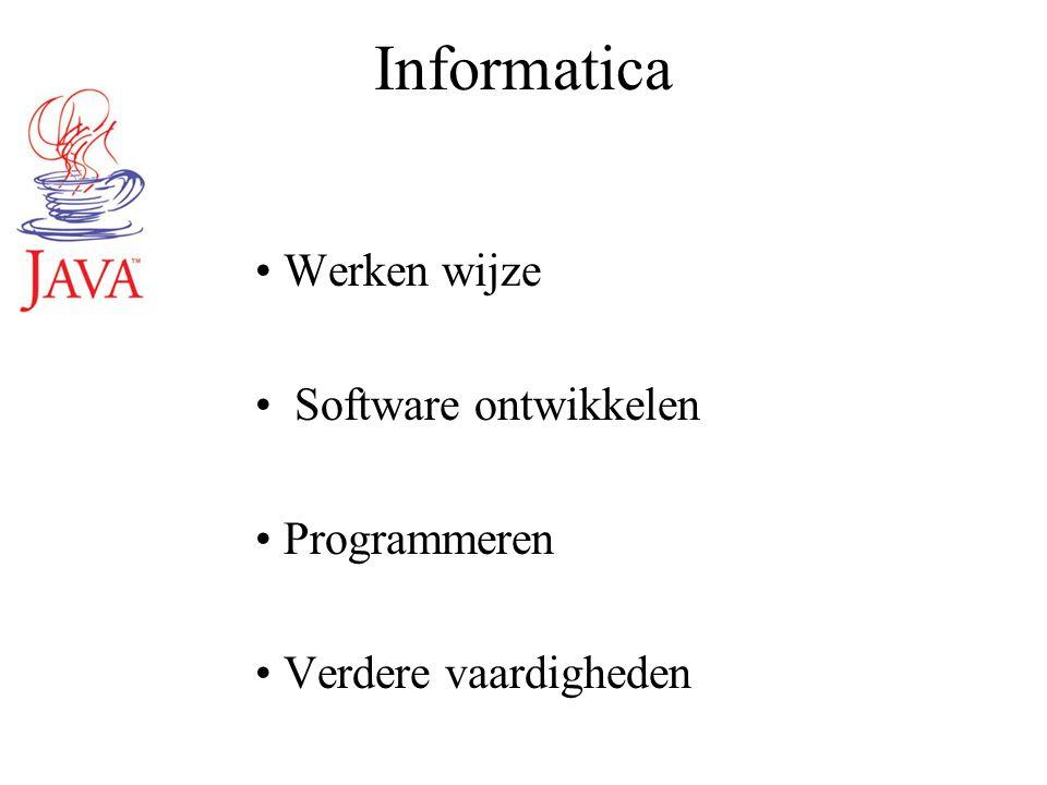 Informatica Werken wijze Software ontwikkelen Programmeren Verdere vaardigheden