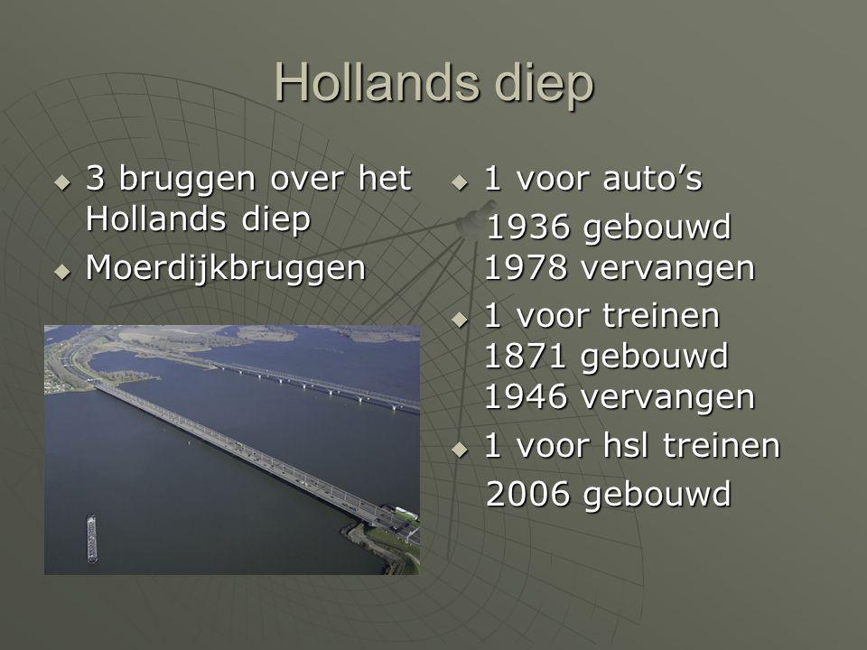 Hollands diep 3333 bruggen over het Hollands diep MMMMoerdijkbruggen 1111 voor auto's 1936 gebouwd 1978 vervangen 1111 voor treinen 18