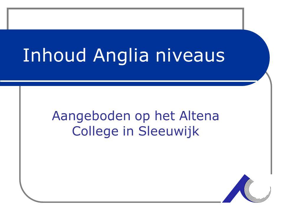 Inhoud Anglia niveaus Aangeboden op het Altena College in Sleeuwijk