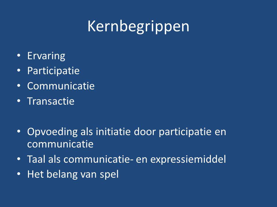 Kernbegrippen Ervaring Participatie Communicatie Transactie Opvoeding als initiatie door participatie en communicatie Taal als communicatie- en expres