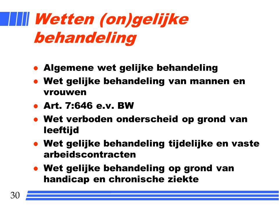29 Discriminatie l Art. 1 GRONDWET Allen die zich in Nederland bevinden, worden in gelijke gevallen gelijk behandeld. Discriminatie wegens godsdienst,