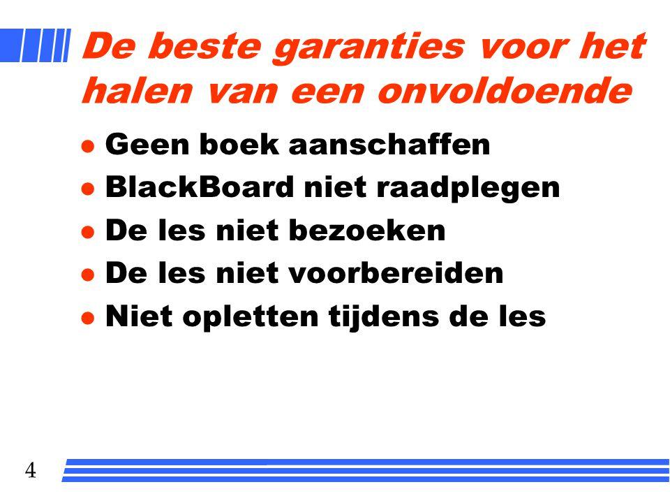 3 Info op BlackBoard l Werkwijze: zelfwerkzaamheid onder begeleiding docent l Literatuur l Tentamen l Planning lessen l Beschikbaarheid docent