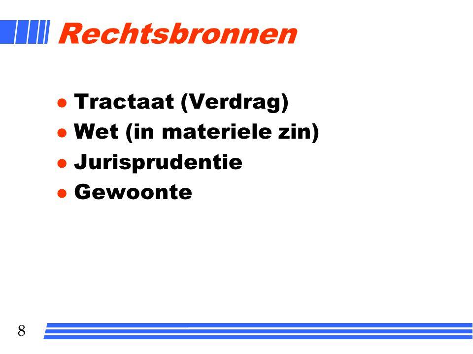 7 7 Systeem van het recht Rechtsbron Subjectief recht Interpretatie Rechtsfeit Objectief recht