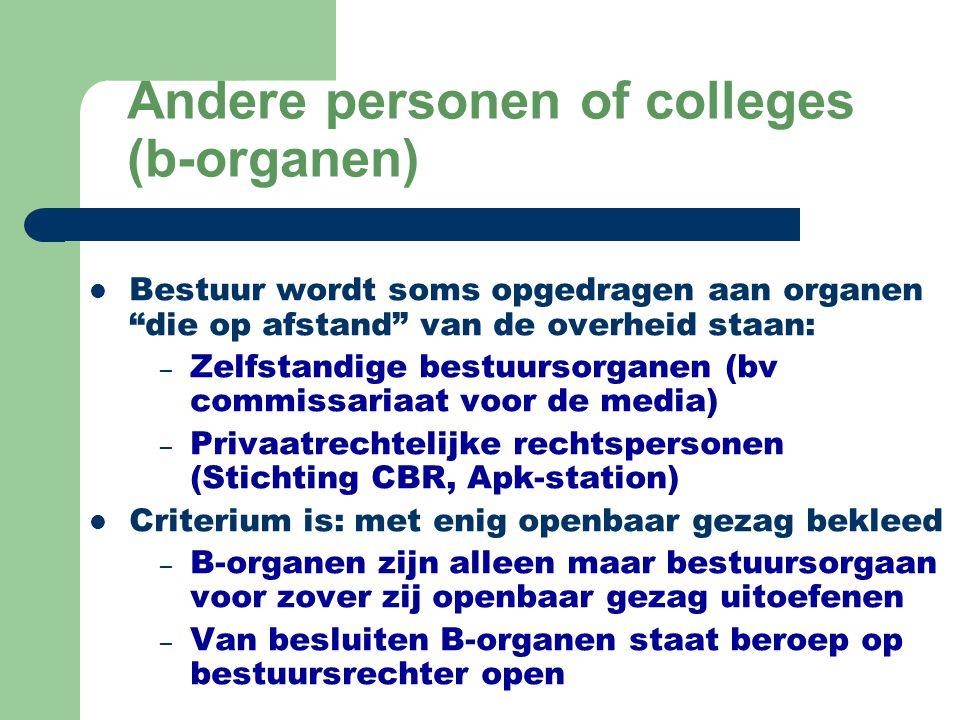 """Andere personen of colleges (b-organen) Bestuur wordt soms opgedragen aan organen """"die op afstand"""" van de overheid staan: – Zelfstandige bestuursorgan"""