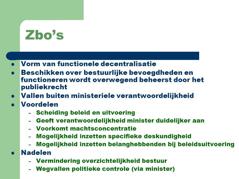 Zbo's Vorm van functionele decentralisatie Beschikken over bestuurlijke bevoegdheden en functioneren wordt overwegend beheerst door het publiekrecht V