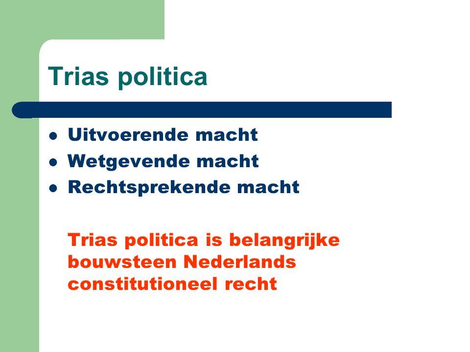 Trias politica Uitvoerende macht Wetgevende macht Rechtsprekende macht Trias politica is belangrijke bouwsteen Nederlands constitutioneel recht