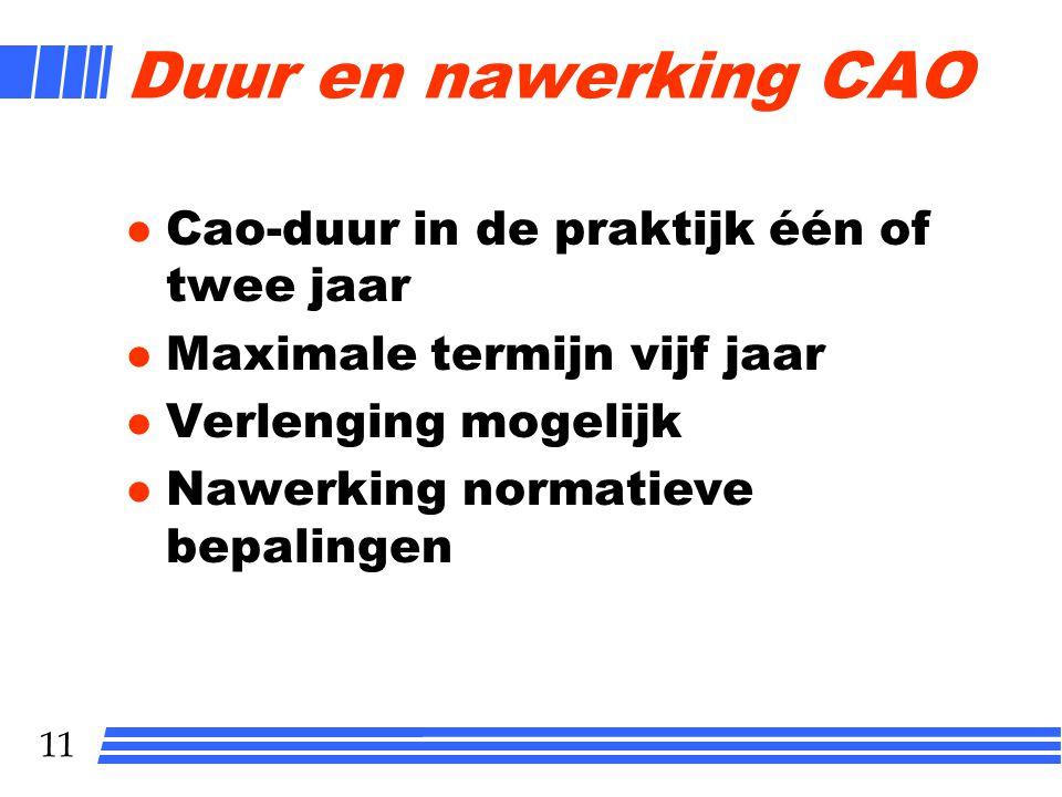 11 Duur en nawerking CAO l Cao-duur in de praktijk één of twee jaar l Maximale termijn vijf jaar l Verlenging mogelijk Nawerking normatieve bepalingen