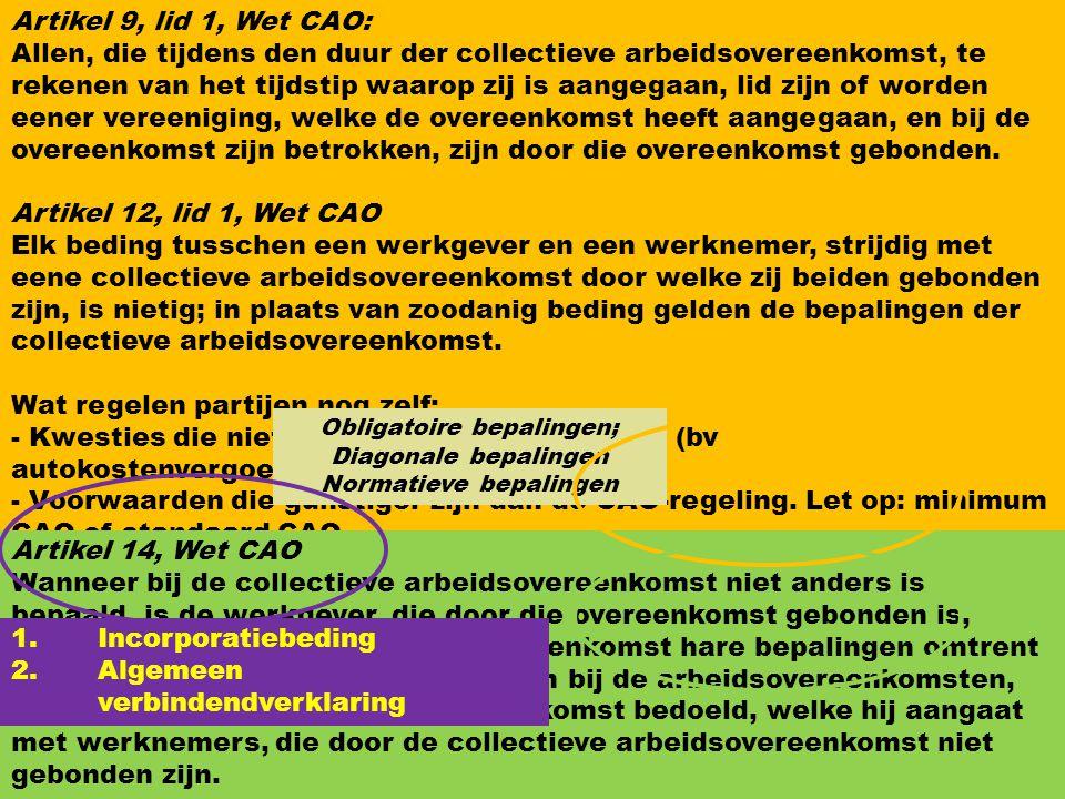 7 Betrokkenen bij CAO Werkgever(s- Vereniging) Vakbond(en) CAO is privaatrechtelijke overeenkomst. Artikel 1, lid 1. Wet CAO : Onder collectieve arbei