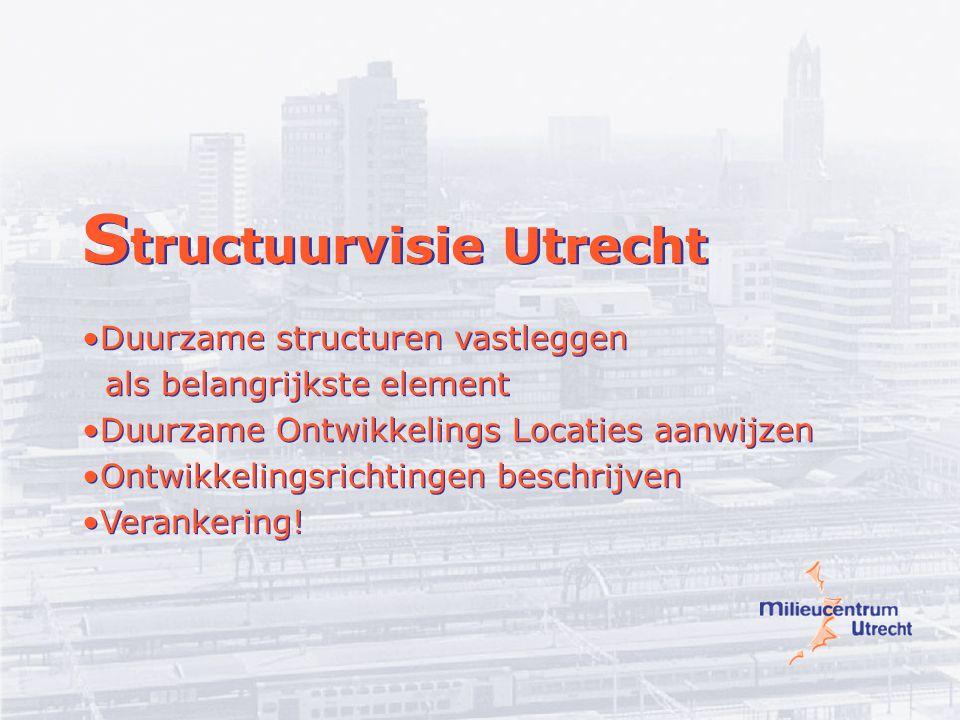 S tructuurvisie Utrecht Duurzame structuren vastleggen als belangrijkste element Duurzame Ontwikkelings Locaties aanwijzen Ontwikkelingsrichtingen beschrijven Verankering.