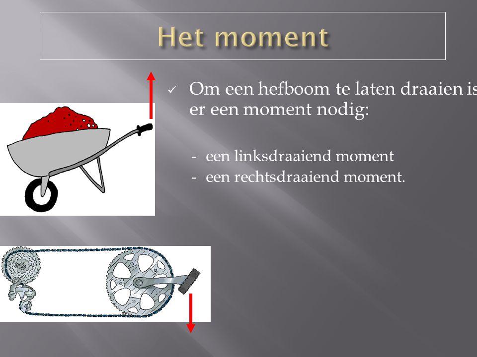 De Zwaartekracht van Jan is 500N De afstand is 1,5 Meter Bereken het Moment: M = F x l M = 500 x 1,5 M = 750 Nm (rechts).