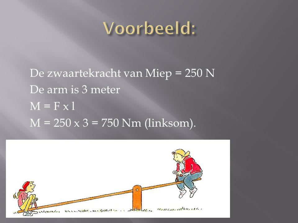 De zwaartekracht van Miep = 250 N De arm is 3 meter M = F x l M = 250 x 3 = 750 Nm (linksom).
