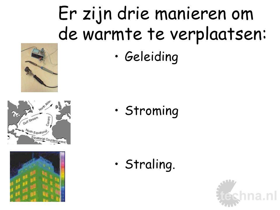 Er zijn drie manieren om de warmte te verplaatsen: Geleiding Stroming Straling.