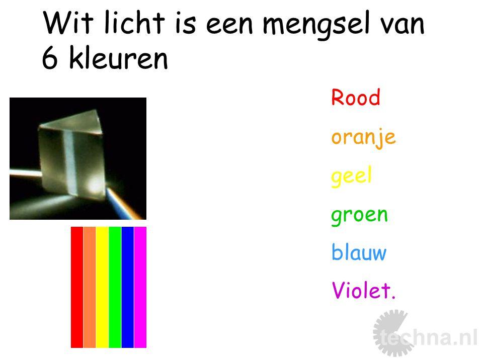 Wit licht is een mengsel van 6 kleuren Rood oranje geel groen blauw Violet.